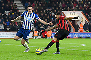 Callum Wilson (13) of AFC Bournemouth shoots at goal during the Premier League match between Bournemouth and Brighton and Hove Albion at the Vitality Stadium, Bournemouth, England on 21 January 2020.