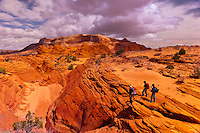 Hiking in Coyote Buttes North, Paria Canyon-Vermillion Cliffs Wilderness Area, Utah-Arizona border, USA