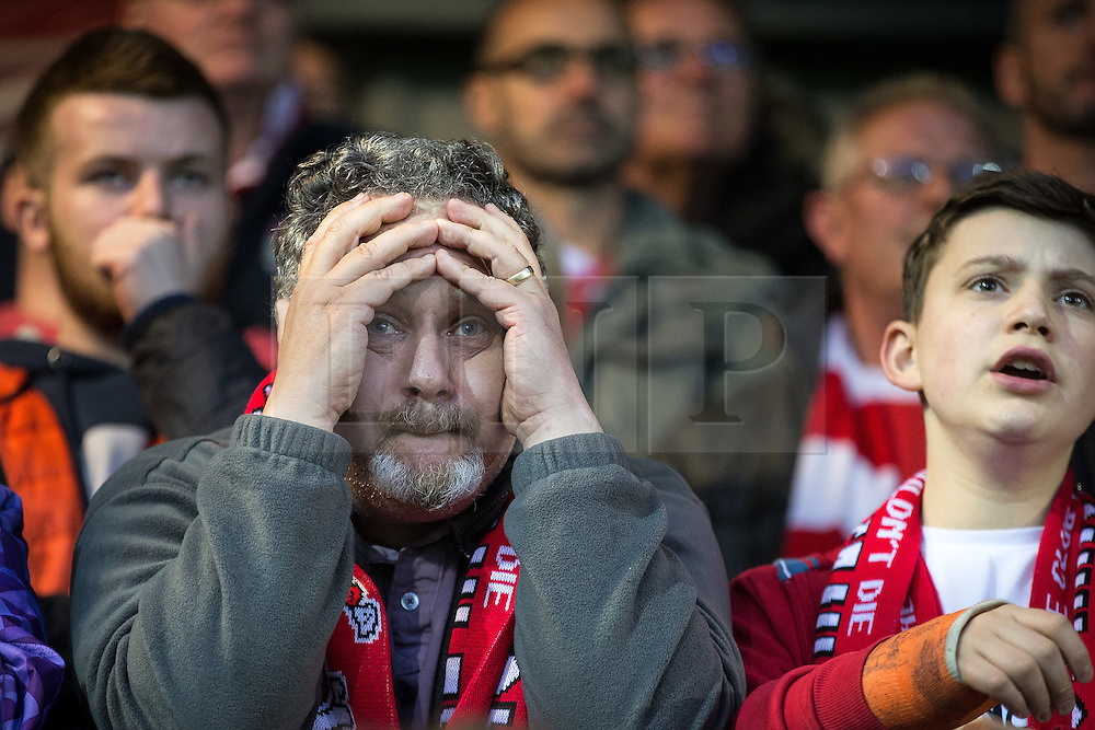 © Licensed to London News Pictures . 18/05/2016 . Accrington , UK . Accrington Stanley fans during the 2nd half of the match . Accrington Stanley take on AFC Wimbledon at the Wham Stadium , in the 2nd leg of their League Two tie , the result from which will decide which team goes on to the final at Wembley . Photo credit : Joel Goodman/LNP