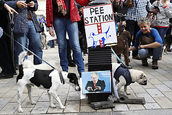 """© Licensed to London News Pictures. 07/10/2018. London, UK. Pro-Remain dogs surround a pee station decorated with a photo of Boris Johnson during a march to parliament to demand a """"People's Vote"""" on the final Brexit agreement. Photo credit: Peter Macdiarmid/LNP"""
