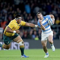 Tomas Cubelli of Argentina is tackled by Allan Ala'alatoa of Australia during the The Rugby Championship match between Argentina and Australia at Twickenham Stadium, Twickenham - 08/10/2016<br />