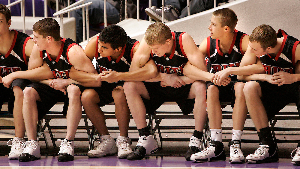 Alta bench tries to help their team mates, but they end up losing 56-50 to Bingham in a 5A State semifinal basketball game at the Dee Events Center in Ogden, Utah on Thursday March 1, 2007. August Miller/Deseret Morning News