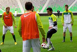 Goalkeeper Jan Koprivec during the Slovenia training session at Stozice stadium on October 7, 2010 in SRC Stozice, Ljubljana, Slovenia. (Photo by Vid Ponikvar / Sportida)