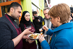 Alloa, Scotland, UK. 6th November 2019. First Minister Nicola Sturgeon visited Alloa on the General Election campaign trail today. Accompanied by Ochil & South Perthshire candidate John Nicolson. She visited Syriana, a Syrian restaurant and Alwen Syrian Bakery both opened and run by Syrian refugees. Iain Masterton/Alamy Live News.