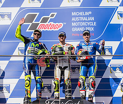 October 23, 2016 - Melbourne, Victoria, Australia - Italian rider Valentino Rossi (#46) of Movistar Yamaha MotoGP (L), British rider Cal Crutchlow (#35) of LCR Honda (C) and Spanish rider Maverick Viñales (#25) of Team SUZUKI ECSTAR on the podium after the MotoGP category race at the 2016 Australian MotoGP held at Phillip Island, Australia. (Credit Image: © Theo Karanikos via ZUMA Wire)