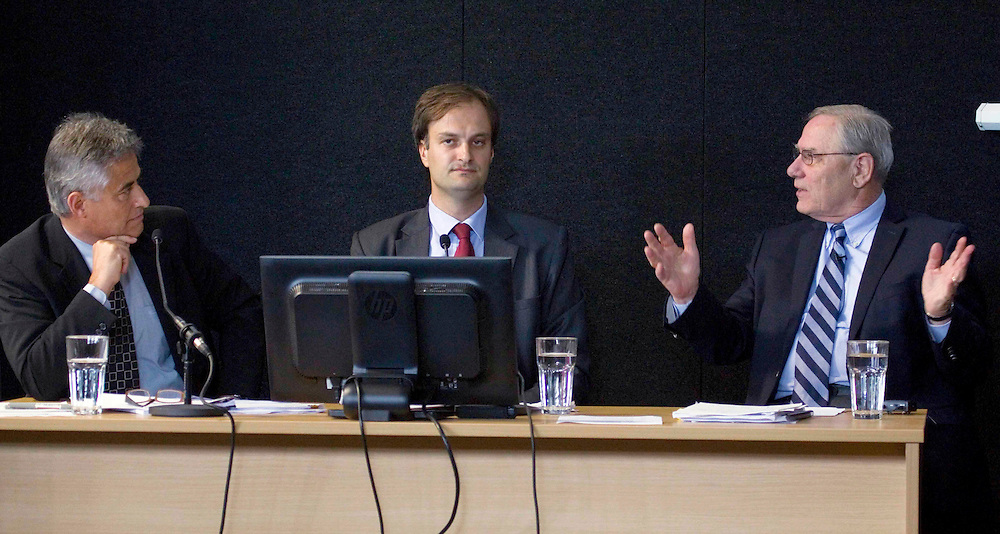Adam Thornton, Structural Engineer, Dunning Thornton Consultants Ltd, left, Professor Stefano Pampanin, associate professor at the College of Engineering, University of Canterbury, and William T Holmes, Structural Engineer, Rutherford & Chekene, San Francisco, in a panel discussion  on the Grand Chancellor Hotel, at the Canterbury Earthquakes Royal Commission hearing,  Christchurch, New Zealand, Wednesday, January 18, 2012. Credit:SNPA / The Press, John Kirk-Andreson  *POOL*