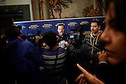 Matteo Salvini, intervistato durante l'inaugurazione della Scuola di formazione politica, Roma 11 ottobre 2015. Christian Mantuano / OneShot<br /> <br /> Matteo Salvini, at the opening of school of political education, Roma 11 October 2015. Christian Mantuano / OneShot