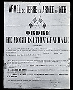 Notice posted in France on 1 August 1914, stating that general mobilization would begin the next day.