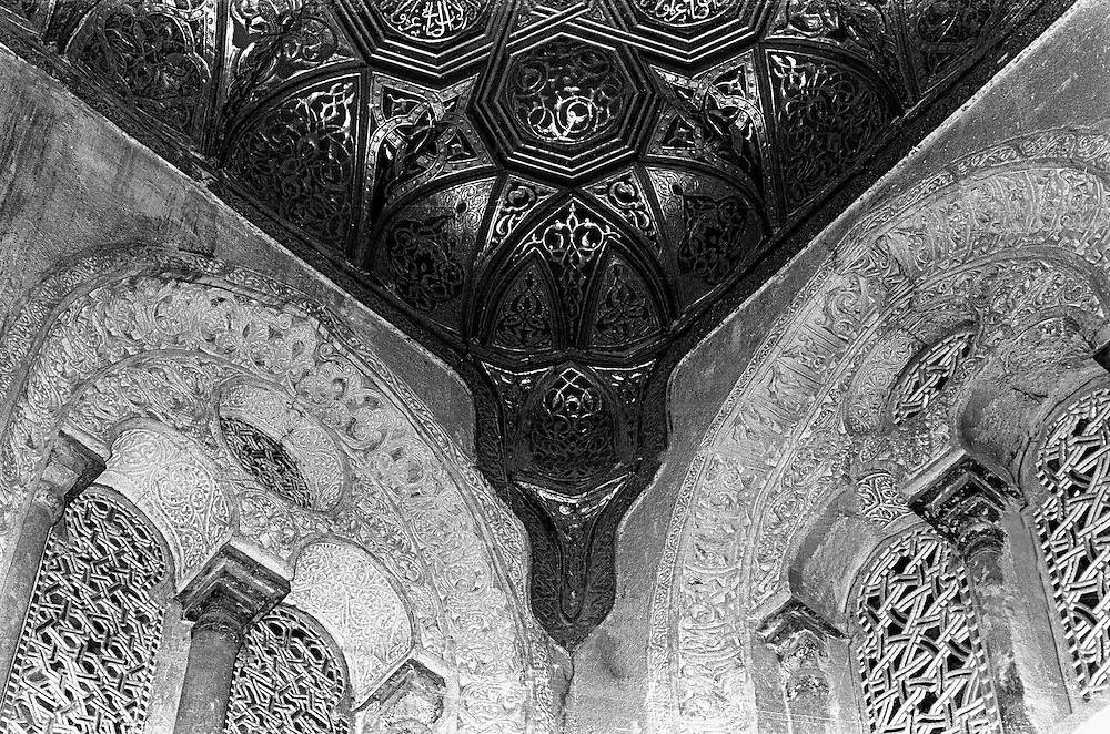Mosque, tomb, and madrasa of Qala'un, Cairo, built 1283-85.   Symmetrical detail of pendentive and balcony embrasures in this medieval mausoleum.  It has been replaced and repaired but still shows the delicate tracery typical of Islamic architectural ornament.