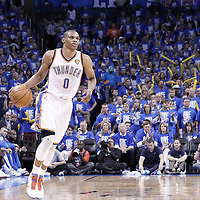 12 June 2012: Oklahoma City Thunder point guard Russell Westbrook (0) brings the ball upcourt during the Oklahoma City Thunder 105-94 victory over the Miami Heat, in Game 1 of the 2012 NBA Finals, at the Chesapeake Energy Arena, Oklahoma City, Oklahoma, USA.