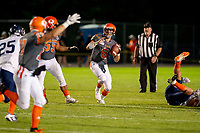 KELOWNA, BC - AUGUST 3:  Ethan Newman #6 looks for the pass against Kamloops Broncos at the Apple Bowl on August 3, 2019 in Kelowna, Canada. (Photo by Marissa Baecker/Shoot the Breeze)