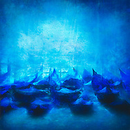 Painterly rendition of gondolas floating in the water in vivid blue tones