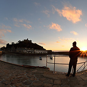 St Michael's Mount at sunset on the mount.<br />