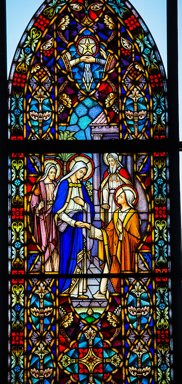 Stained glass window at Holy Family Church in Brillion, Wis. Visitation of the Virgin Mary. (Sam Lucero photo)