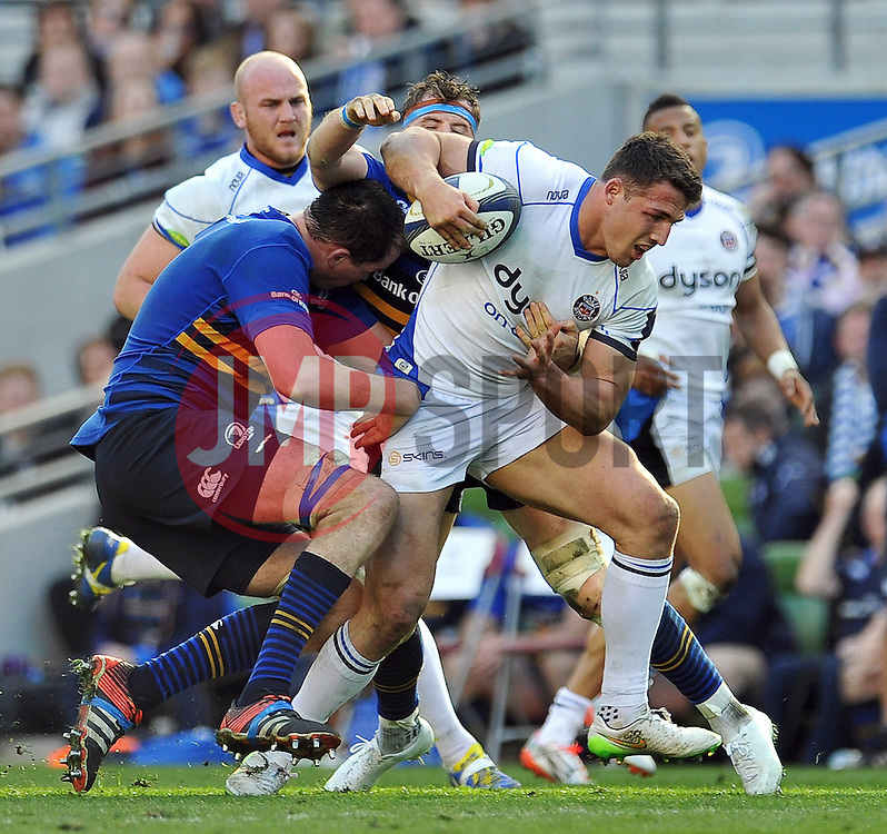 Sam Burgess of Bath Rugby takes on the Leinster defence - Photo mandatory by-line: Patrick Khachfe/JMP - Mobile: 07966 386802 04/04/2015 - SPORT - RUGBY UNION - Dublin - Aviva Stadium - Leinster Rugby v Bath Rugby - European Rugby Champions Cup
