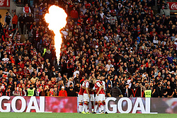 July 15, 2017 - Sydney, New South Wales, Australia - Arsenal player, Mohamed Elney and his team mates celebrate after scoring a goal..FA Cup Champions Arsenal wins 3-1 over Western Sydney Wanderers FC at ANZ Stadium. (Credit Image: © United Images/Pacific Press via ZUMA Wire)