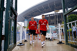 NANNING, CHINA - Saturday, March 24, 2018: Wales' Gareth Bale and Adam Matthews during a training session at the Guangxi Sports Centre ahead of the 2018 Gree China Cup International Football Championship final match against Uruguay. (Pic by David Rawcliffe/Propaganda)