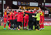 FYR Macedonia players celebrate after their win over Scotland Under-21 - Scotland Under-21 v FYR Macedonia,  UEFA Under 21 championship qualifier  at Tynecastle, Edinburgh. Photo: David Young<br /> <br />  - © David Young - www.davidyoungphoto.co.uk - email: davidyoungphoto@gmail.com