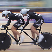Phillipa Gray, (left) and Laura Thompson, New Zealand, in action during the Para-Cycling Women 1000m Time Trial at the 2012 Oceania WHK Track Cycling Championships, Invercargill, New Zealand. 21st November 2011. Photo Tim Clayton...