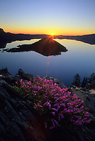 Sunrise along the west rim at Crater Lake National Park, Oregon.
