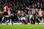 Diego Poyet of West Ham United (23) shoots during the Capital One Cup match at the Boleyn Ground, London<br /> Picture by David Horn/Focus Images Ltd +44 7545 970036<br /> 26/08/2014