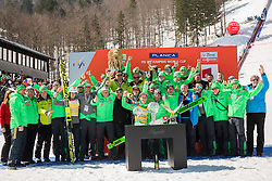 Team Slovenia with Overall World Cup winner Peter Prevc (SLO) celebrate with globes and Four Hills Tournament's Eagle during trophy ceremony after the Ski Flying Hill Individual Competition at Day 4 of FIS Ski Jumping World Cup Final 2016, on March 20, 2016 in Planica, Slovenia. Photo by Vid Ponikvar / Sportida