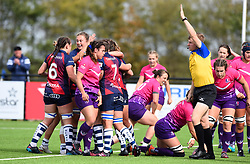 Bristol Bears Women celebrate their opening try against Loughborough Lightning - Mandatory by-line: Paul Knight/JMP - 28/09/2019 - RUGBY - Shaftesbury Park - Bristol, England - Bristol Bears Women v Loughborough Lightning  - Tyrrells Premier 15s