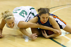 10 January 2009: Hope Schulte and Noelle Dryden scramble for a loose ball. The Lady Titans of Illinois Wesleyan University downed the and Lady Thunder of Wheaton College by a score of 101 - 57 in the Shirk Center on the Illinois Wesleyan Campus in Bloomington Illinois.