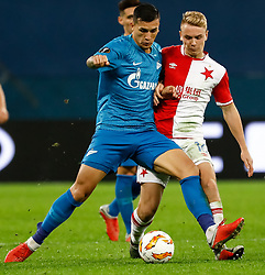 October 4, 2018 - Saint Petersburg, Russia - Leandro Paredes (L) of FC Zenit Saint Petersburg and Jan Matousek of SK Slavia Prague vie for the ball during the Group C match of the UEFA Europa League between FC Zenit Saint Petersburg and SK Sparta Prague at Saint Petersburg Stadium on October 4, 2018 in Saint Petersburg, Russia. (Credit Image: © Mike Kireev/NurPhoto/ZUMA Press)