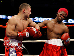 January 27, 2007; Anaheim, CA; USA; Victor Oganov knocks out Richard Grant in the second round of their bout at the Honda Center in Anaheim, CA.