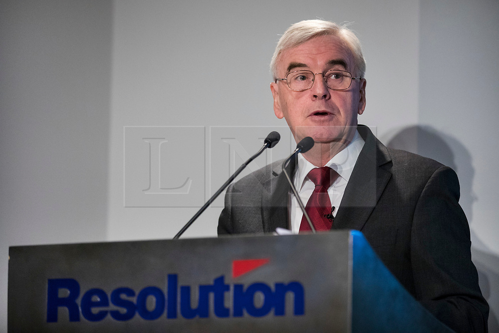 © Licensed to London News Pictures. 22/02/2018. London, UK. Shadow Chancellor John McDonnell MP delivers a speech about inequality and prospects for growth in the British economy at the Resolution Foundation in Central London.Photo credit: Rob Pinney/LNP