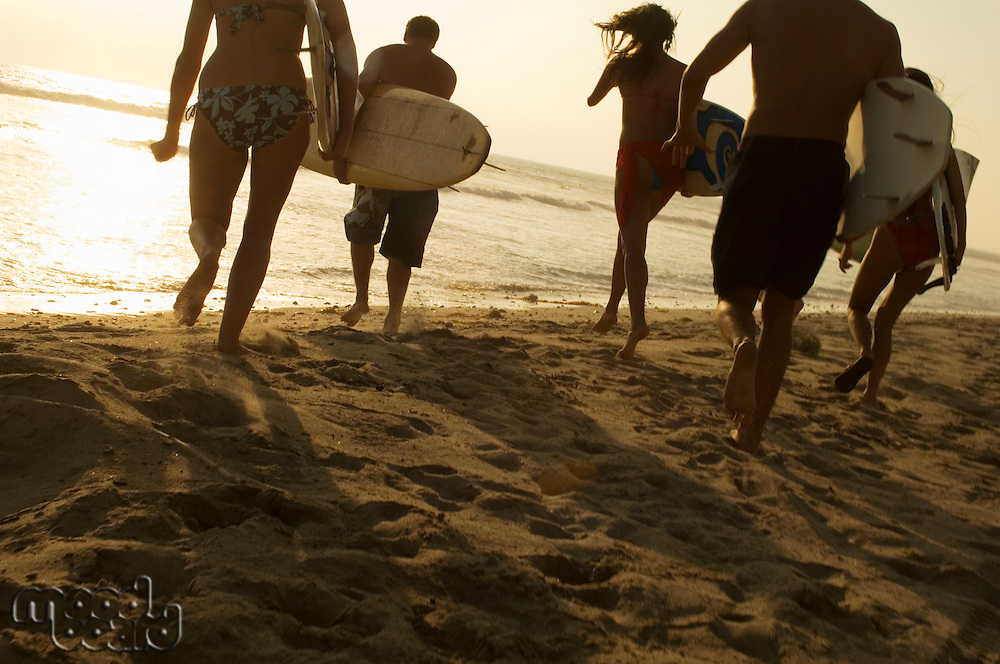 Five surfers carrying surfboards on beach at sunset back view