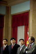 Cao Guangjing (thord from left and Paulo Portas portugues Minister for Foreign Affairs<br /> <br /> The president of China Three Gorges electric company, Cao Guangjing; the chairman of the board of Parp&uacute;blica, Joaquim Reis, and Ant&oacute;nio Mexia, chairman of the Board of EDP signed an agreement that gives the first formal step for the acquisition of a state share of 21.35% in the EDP, the portuguese electric company.