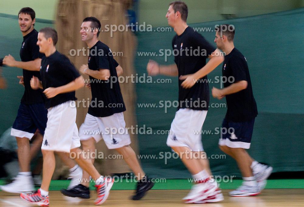 Bostjan Nachbar, Jaka Lakovic, Sani Becirovic, Primoz Brezec, Sandi Cebular at practice session of Slovenia basketball team on media day on July 16, 2010 at Rogla sports center, Slovenia. (Photo by Vid Ponikvar / Sportida)