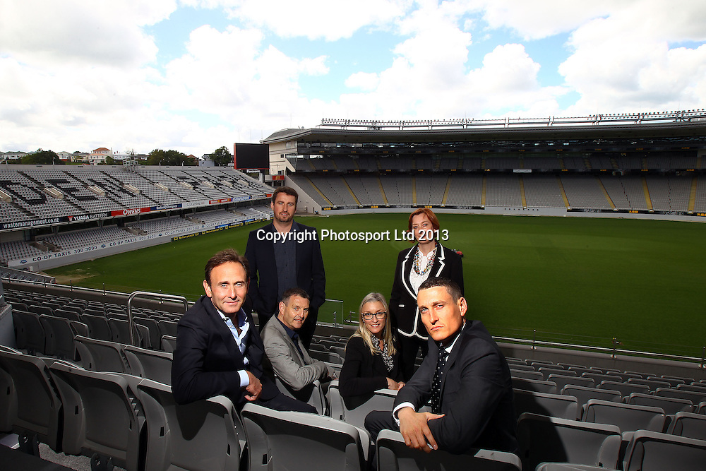 (Front Seated) Paul Kind NRL, David Higgins Duco Events, (Middle Seated) Phil Holden NZRL, Rachel Carroll ATEED, (Rear Standing) Nathan McGuirk NRL and Adriene Bonell Eden Park, NRL Nines Stakeholder meeting ahead of the Auckland 2014 rugby league event. Eden Park, Auckland. 29 October 2013. Photo: William Booth/photosport.co.nz