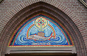 Catholic church religious fish sign, Xavieriuskerk, Enkhuizen, Netherlands