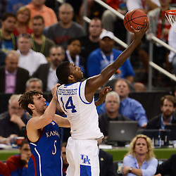 Apr 2, 2012; New Orleans, LA, USA; Kentucky Wildcats forward Michael Kidd-Gilchrist (14) shoots a lay up as Kansas Jayhawks center Jeff Withey (5) defends during the first half in the finals of the 2012 NCAA men's basketball Final Four at the Mercedes-Benz Superdome. Mandatory Credit: Derick E. Hingle-US PRESSWIRE