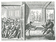 Religious atrocities perpetrated against French Catholics by Huguenots in Angouleme. Left: Catholics chained in pairs and shut in a room without food and water. Right: Man tortured by being draw back and forth along a rope.  From 'Theatrum crudelitatum nostri temporis Anvers', 1587.