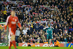 LIVERPOOL, ENGLAND - Saturday, January 26, 2008: Havant and Waterlooville supporters sing 'You'll Never Walk Alone' during the FA Cup 4th Round match against Liverpool at Anfield. (Photo by David Rawcliffe/Propaganda)