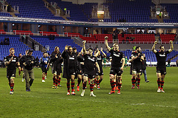 Edinburgh Rugby players celebrate their win over London Irish - Photo mandatory by-line: Robbie Stephenson/JMP - Mobile: 07966 386802 - 05/04/2015 - SPORT - Rugby - Reading - Madejski Stadium - London Irish v Edinburgh Rugby - European Rugby Challenge Cup