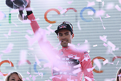 Tom Dumoulin (NED) Team Giant-Alpecin wears the first leader's Maglia Rosa after winning his home stage, Stage 1 of the 2016 Giro d'Italia, an individual time trial of 9.8km around Apeldoorn, The Nethrerlands. 6th May 2016.<br /> Picture: Eoin Clarke | Newsfile<br /> <br /> <br /> All photos usage must carry mandatory copyright credit (&copy; Newsfile | Eoin Clarke)