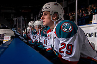 KELOWNA, CANADA - DECEMBER 29:  Nolan Foote #29 of the Kelowna Rockets sits on the bench against the Kamloops Blazers on December 29, 2018 at Prospera Place in Kelowna, British Columbia, Canada.  (Photo by Marissa Baecker/Shoot the Breeze)