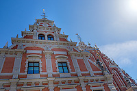 "RIGA, LATVIA - CIRCA MAY 2014: Architectural detail of ""The House of Blackheads"" in old town Riga"