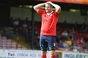 Jon Parkin of York City (9) sees a late York goal-scoring chance go wide during the Vanarama National League North match between York City and Curzon Ashton at Bootham Crescent, York, England on 18 August 2018.