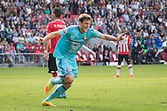 EINDHOVEN, PSV - Feyenoord, voetbal, Eredivisie seizoen 2016-2017, 18-9-2016, Philips Stadion, Feyenoord speler Eric Botteghin (M) heeft de 0-1 gescoord.