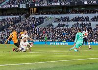 Football - 2019 / 2020 Premier League - Tottenham Hotspur vs. Wolverhampton Wanderers<br /> <br /> Raul Jimenez (Wolverhampton Wanderers) places the ball past Paulo Gazzaniga (Tottenham FC)  to score his teams winning goal at The Tottenham Hotspur Stadium.<br /> <br /> COLORSPORT/DANIEL BEARHAM