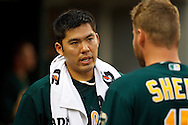 May 31, 2010: Oakland Athletics' Kurt Suzuki (8) and Ben Sheets (15) during the MLB baseball game between the Oakland Athletics and Detroit Tigers at  Comerica Park in Detroit, Michigan. Oakland defeated Detroit 4-1.