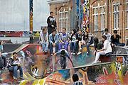Belgie, Brussel, 28-7-2011Jongeren vermaken zich op een skatebaan bij de grote zavel.Foto: Flip Franssen/Hollandse Hoogte