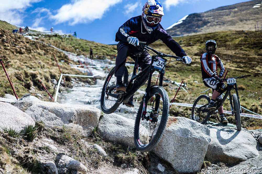 Nevis Range, Fort William, Scottish Highlands, UK. 14th May 2016. Loic Bruni competes in the British Downhill Series on Nevis Range in the Scottish Highlands.