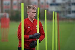 NEWPORT, WALES - Thursday, March 21, 2019: Wales' goalkeeper Niall Clayton during an Under-21 training session at Dragon Park. (Pic by David Rawcliffe/Propaganda)